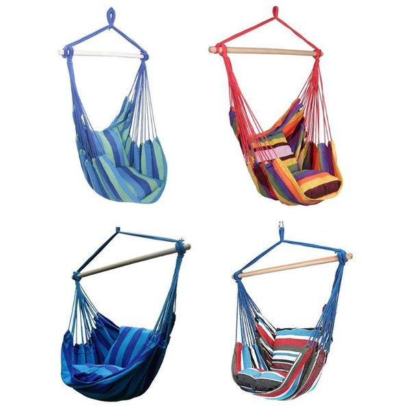 2019 New Hammock Chair Hanging Rope Chair Swing Seat with 2 Pillows for Garden Indoor Outdoor Use
