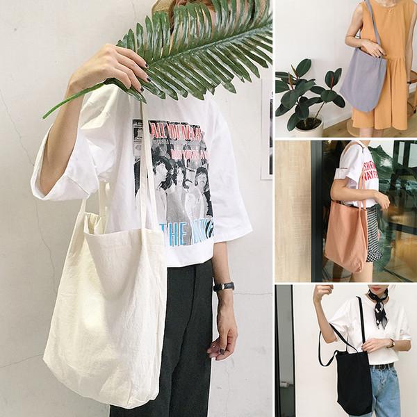 Women Cotton Fabric Shoulder Bag Simple Eco Canvas Bag Soft Handbag Solid Casual Tote Female Environmental Reusable Shopping