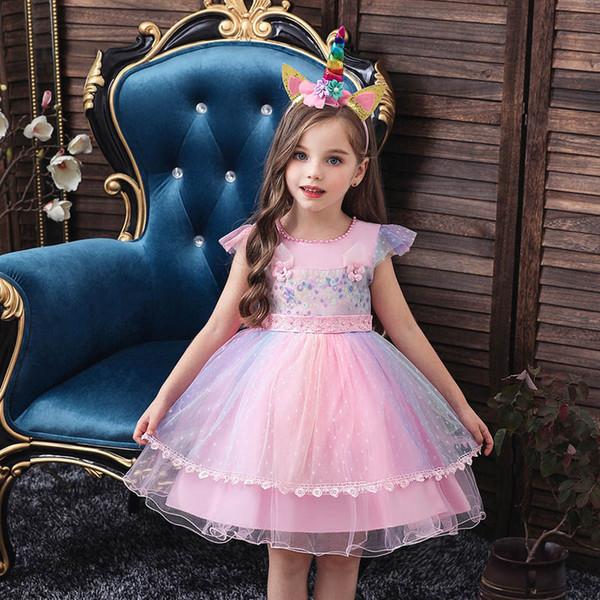 Ins Einhorn Mädchenkleider + Stirnband 2pcs / set Kleider Blumenmädchen für A8390 Baby-Prinzessinkleid Einzelhandel Hochzeit Babykleider