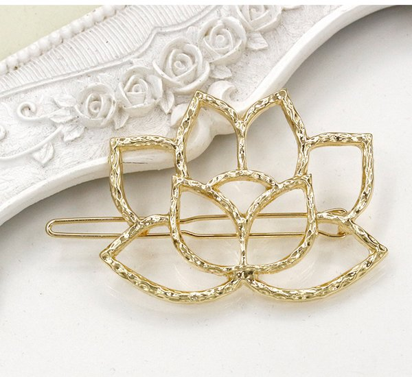 New lotus flower hair accessories gold silver plated flower hair clips jewelry cute water lily bobby pins barrettes hairpin for ladies-P