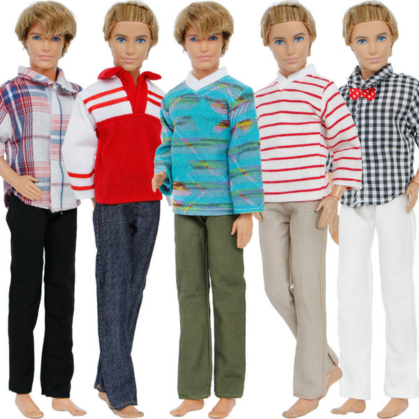 5 Set/lot Fashion Prince Outfits Mixed Style Plaid Stripe Shirt Trousers Clothes For Barbie Friend Ken Doll Accessories Gift Toy Q190521