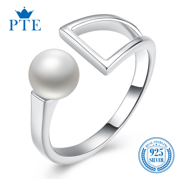 S925 Silver Open Ring Korean Sweet Bell Pearl Ring Wholesale Individual Forefinger Sterling Silver Jewelry with box