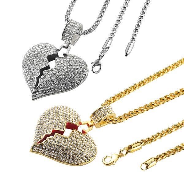 Moda Yeni Tasarımcı Kırık Kalp Buz Kolye Kolye Aşk Charm Kristal Rhinestone Altın ve Gümüş Erkekler Ve Kadınlar Hip Hop Takı