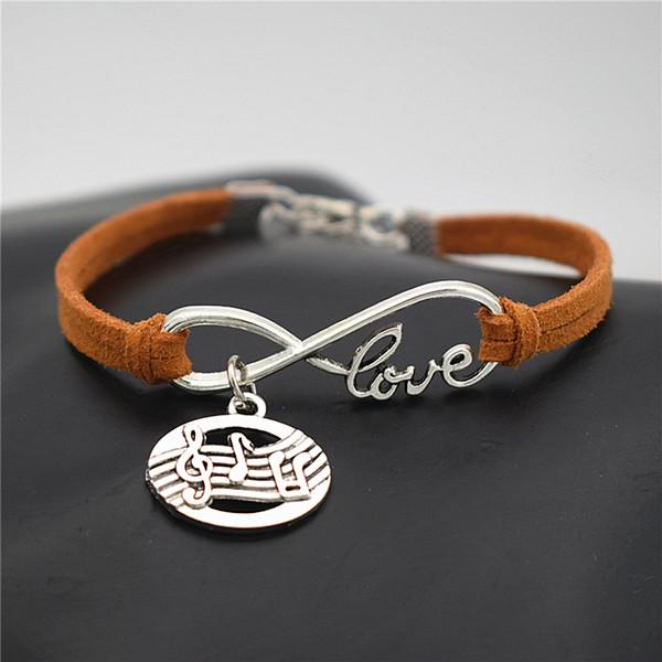 New Elegant Cute Antique Silver Oval Shaped Pendant Infinity Love Punteggio musicale Symbol Musical Note Charm Regali braccialetti in pelle scamosciata di pelle marrone