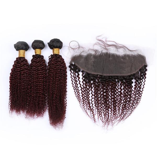 # 1B / 99J Wine Red 3 пучки бразильских человеческих волос, кудрявые, вьющиеся с лобным бордовым Ombre девственные волосы 13x4 кружева фронтальная застежка с плетением