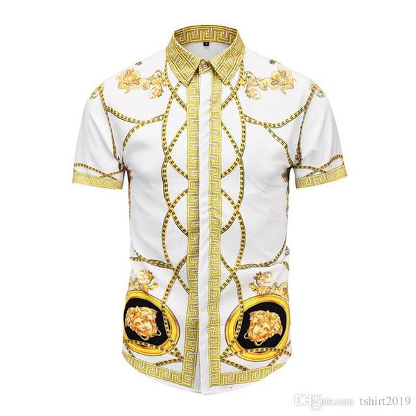 Mode hemden männer floral shirts 2019 sommer neue 3D print Mode lässig schlank hawaiian shirt strand spaziergang M-2XL