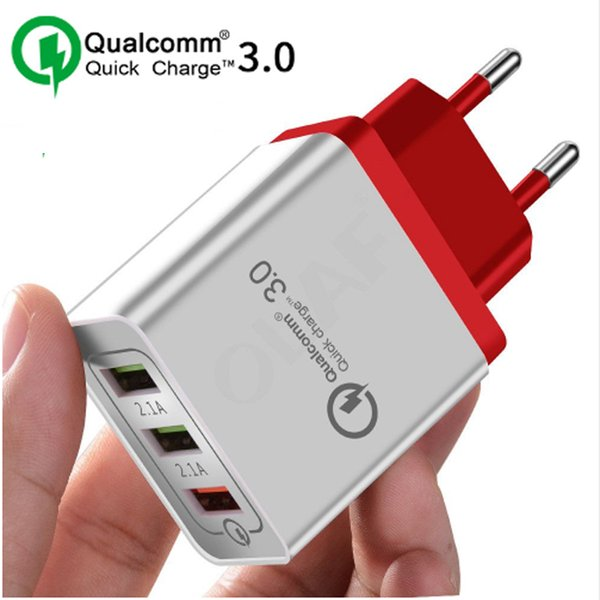3 Ports QC 3.0 Power Adapter Fast Charging Quick Charge 3.0 Home Travel Wall Charger for iPhone X XS Max 8 Galaxy S10 Huawei P20