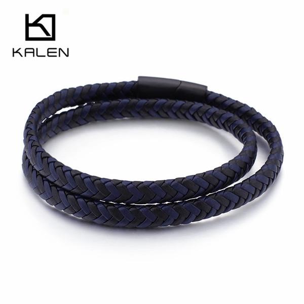 Çift Katmanlı Uzun Ayarlanabilir Deri Bileklik Bay Bayan Unisex 42cm İki Çember Mavi Siyah Deri Wrap Bilezik Takı