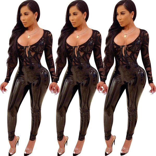 9d31bcaa9b4 2019 Hot Sexy Black PU and Lace Night Out Jumpsuits See Through Long Sleeves  Women Skinny
