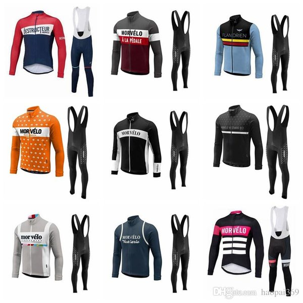 Morvelo Men team Cycling long Sleeves jersey bib pants sets 3D gel pad MTB Ropa Ciclismo Breathable Quick dry Bike Wear clothes 1129L