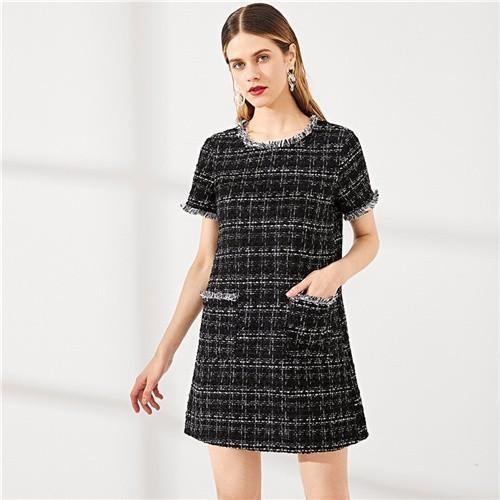 2019 черный шею изношенные края кнопки подробно твидовое платье Fringe выходные выходные свободного покроя женщины лето современная леди короткое платье