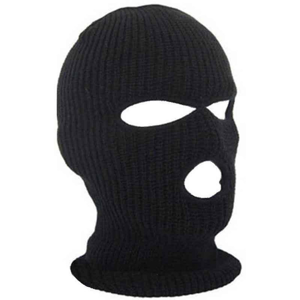 Relefree Unisex Man and woman 3 Hole ski Mask Balaclava Black Knitted Hat Face Shield Beanie Cap Snow Winter Warm
