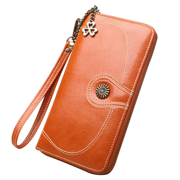 good quality Women Vintage Oil Wax Leather Wallet Female Big Capacit Zipper Long Coin Purses Money Bag Card Holder Ladies Clutch Bags