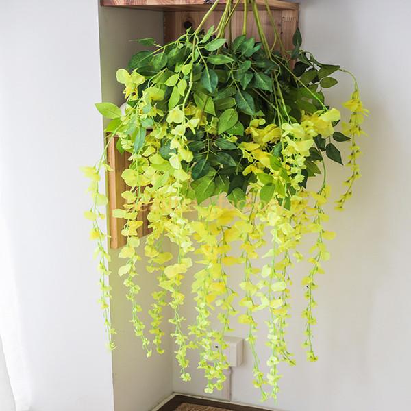 12pcs glicine artificiale falso appeso vite fogliame di seta fiore foglia ghirlanda pianta decorazione della casa multi colori per scegliere