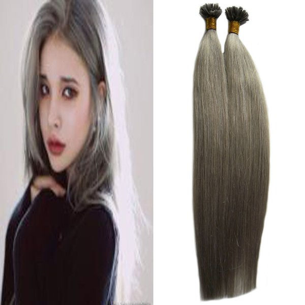 Remy Keratin Nail U Tip Extensions Pure Color Pre-bonded Hair 1g/pc Fusion Hair Extensions Straight Machine Made Remy grey hair extensions