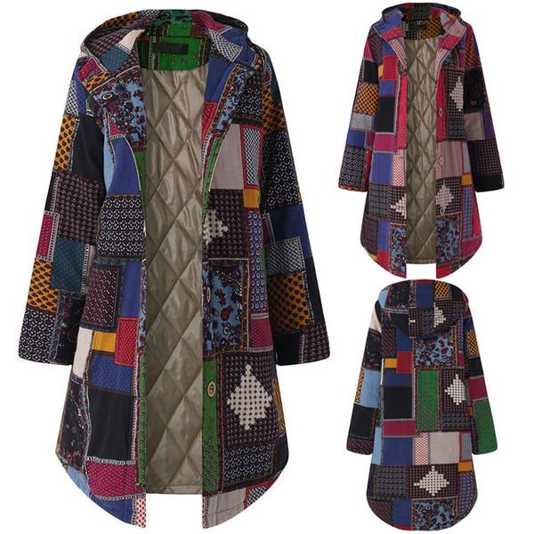 Womens Warm Outwear Floral Print Hooded Pockets Vintage Oversize Coats jacket Fur Zipper Coat Outwear Woman Coats Winter HX0107