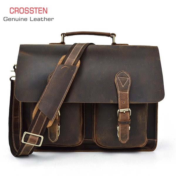 "Crossten 100% Genuine Cow Leather Men's business Briefcase Tote crazy-horse leather document messenger bag 15"" laptop"