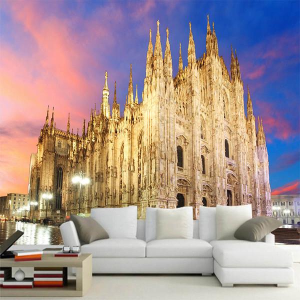 3D Stereo Milano chiesa carta da parati senza soluzione di continuità murale italiano paesaggio foto TV sfondo carta da parati soggiorno camera da letto sfondo