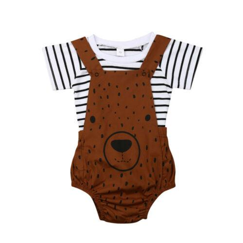 2 ADET Pudcoco 2019 Yeni Marka Yenidoğan Bebek Erkek Kız Yaz Giysileri Şerit T-shirt + Ayı Önlüğü Pantolon Kıyafetler