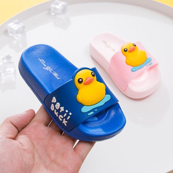 Комнатные тапочки для ванной комнаты для малышей для малышей Маленькие дети Прекрасная желтая утка Обувь для девочек Шлепанцы Пляжная обувь S2113