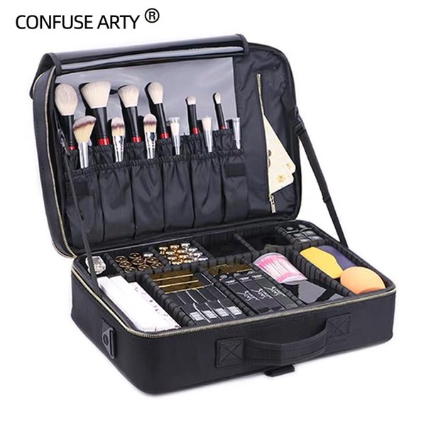 2017 new arrival Large multi-storey professional make up package bag nail pattern semi-permanent tool box cosmetic case