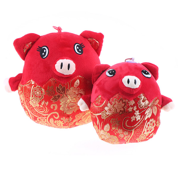 2019 Pig Year Kawaii China Dress Mascot Pig Plush Soft Toys Chinese New Year Party Decoration Gift For Children Girl