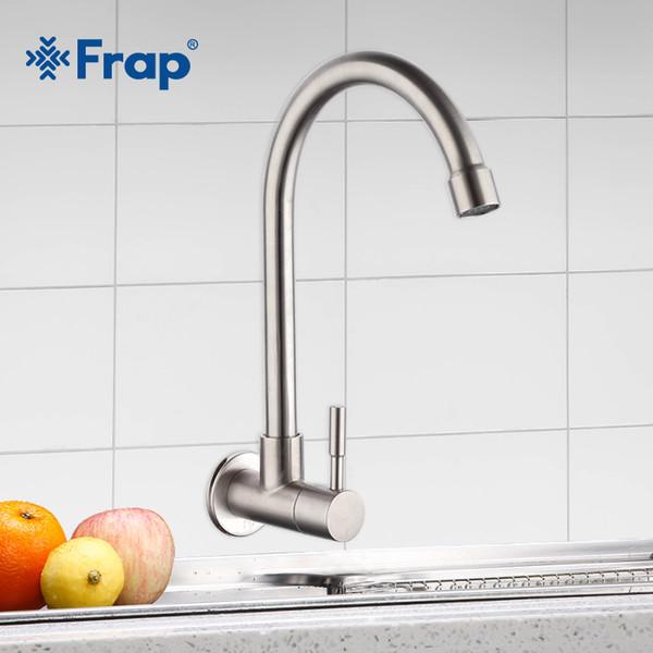 Frap Küchenarmatur Mischer Waschbecken Wasserhahn Wand Montiert Einzelne Kaltwasser Flexible 304 Edelstahl Küchenarmatur Zubehör Y40530