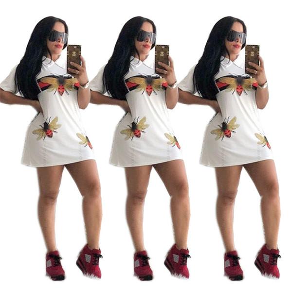Womens Clothing Party Dresses Designer Bee Print Summer Dresses Turn Down Collar Mini Shirts Skirt Short Sleeve A-Line Bodycon Dress C6505