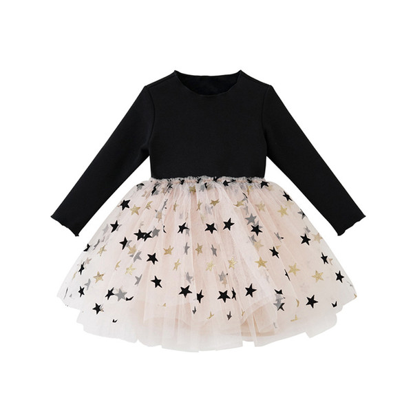 Estrella brillante del niño otoño vestidos de la moda de primavera de la niña de ropa de manga larga longitud de la rodilla vestido de tul de bebé 19011402
