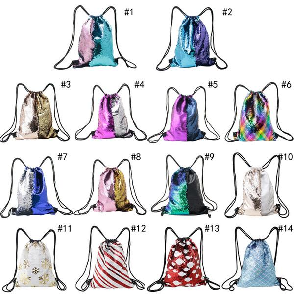 Glitter Sequins Backpacks Drawstring Portable Glittering Shoulder Bag School bag shopping bag birthday Party Favors nice gifts 33*42cm