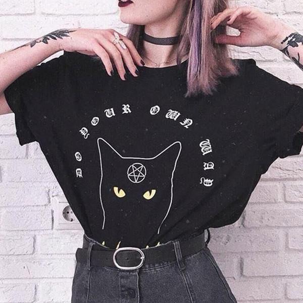 Girls Gothic Pentagram Symbol Pattern Cat Letter Print T-shirt Harajuku Casual Tumblr Female Tops Tee Summer Women T Shirts T419053101