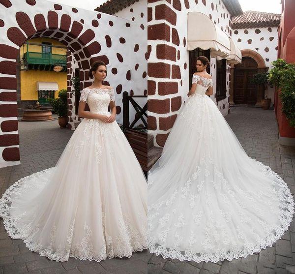 Prinzessin A Line Brautkleider Spitze Türkei Frauen Country Western Brautkleider Appliques Off-Shoulder Billig