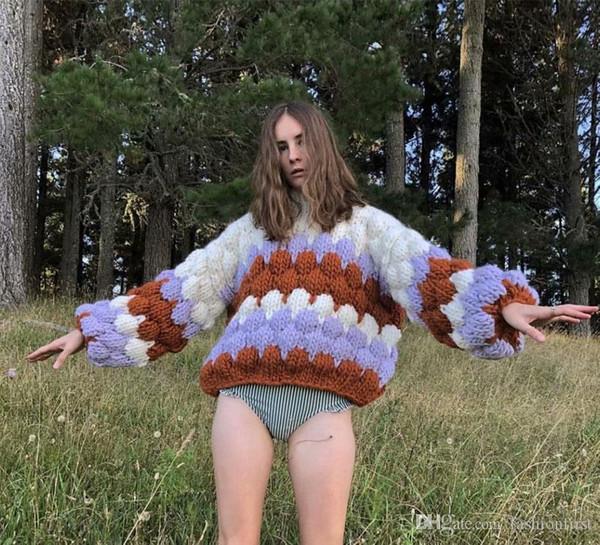 Luxury Fashion Casual Donne Inverno Maglione fatto a maglia di alta qualità multicolori Chunky allentato pullover a maglia camicetta camicie outwear