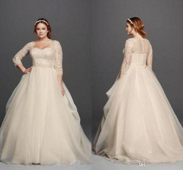 Plus size 2017 oleg cassini vestidos de casamento 3/4 mangas lace querida vestidos de noiva princesa sweep trem longo vestido de noiva custom made