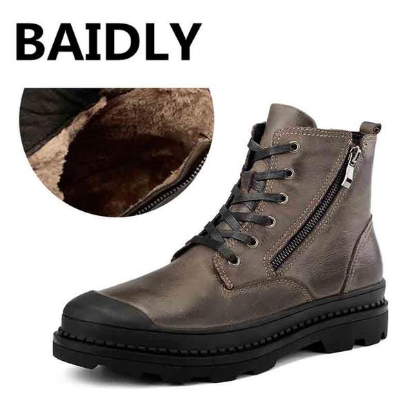 Baidly Stivaletti da uomo in vera pelle per esterni Stivali Martin casual da uomo Scarpe da uomo in metallo Design grandi dimensioni 28-57