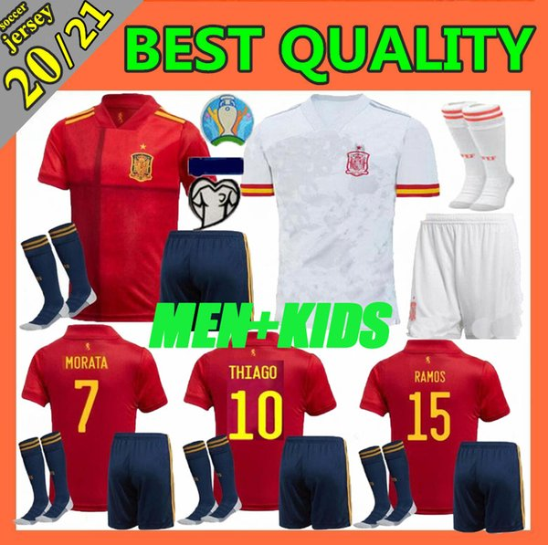 best selling men kids kit 2020 Euro Spain MORATA home soccer jersey 20 21 koke ASENSIO ramos SILVA isco European cup football shirts