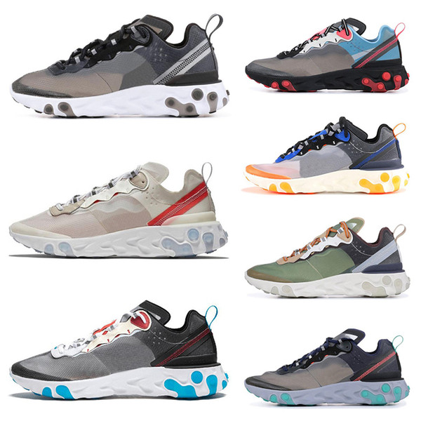 New Design 2019 Epic React Element 87 Running Shoes Hot Sell Mens Women White Black NEPTUNE GREEN Blue Trainer Breathable Sports Sneakers