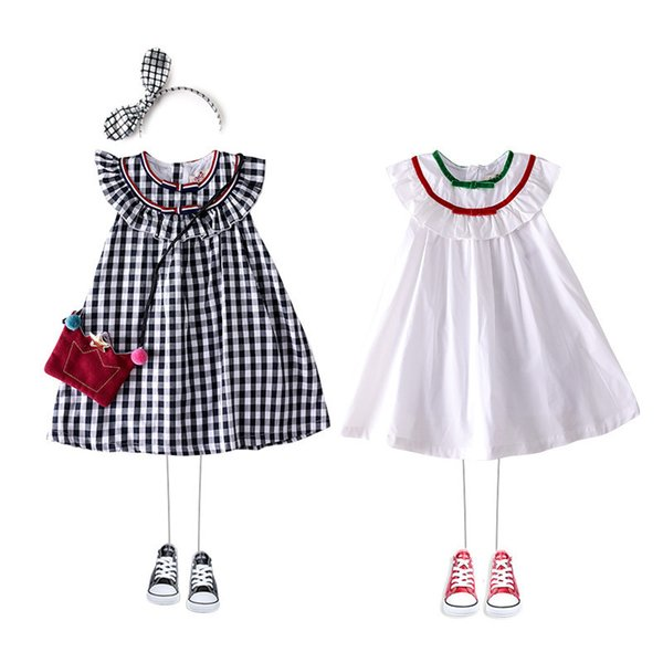 Summer New Pattern Girl Pure Cotton Dress High-end Brand Children's Clothes Lotus Leaf Collar Lattice A Doll Skirt