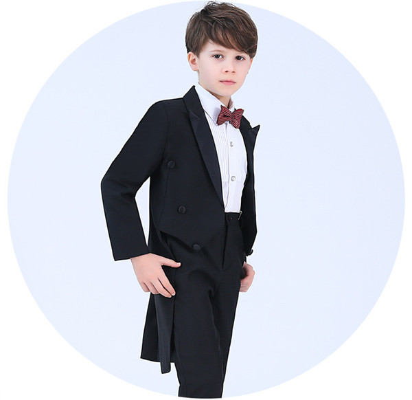d92851b3e383 Fine Black Boys Tuxedos wedding piano costume boy suit 4 pcs Kids Formal  Wear first holy
