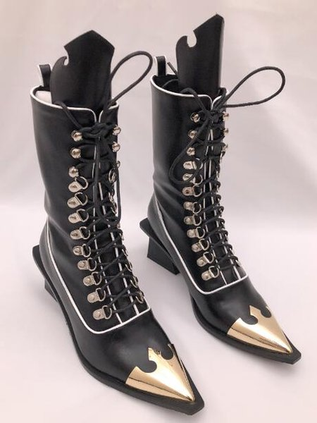 Classic British Style Woman Pointed Toes Martin Motorcycle Boots Lace-Up Sequined Chunky heel High-heeled boots size 35 ~ 39