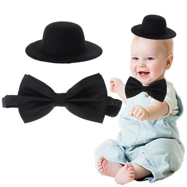 Baby Hat Bowtie Cap Tie Photography Costume Cosplay Newborn Photo Commemorative Memorial Props DIY Decoration Funny Business Kid