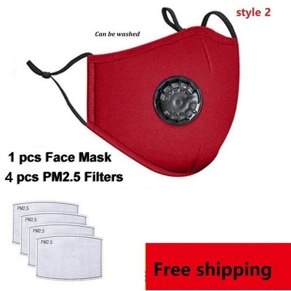 1 pcs rouge masque + 4 pcs filtres(style2)