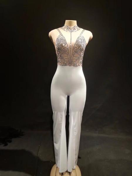 Frauen Sexy Stage Sleeveless Jumpsuit Schwarz Sparkling Crystals Bodysuit Nightclub Party Tänzerin Sängerin Stage Wear Bling Kostüme