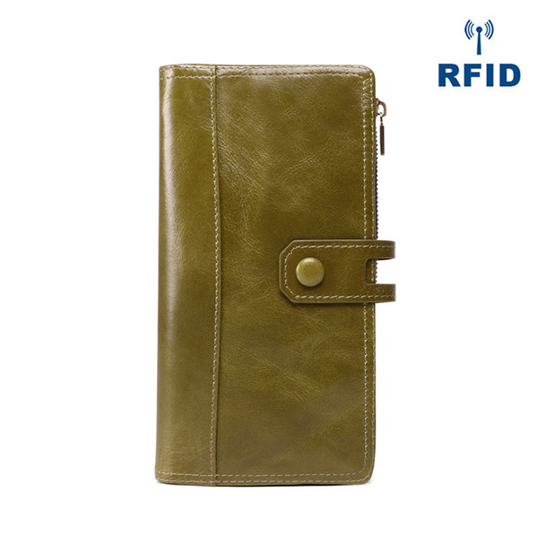 Anti-theft Fashion Black Genuine Leather Lady Long Double Zipper Bifold Wallet Mobile Phone Bag for Women