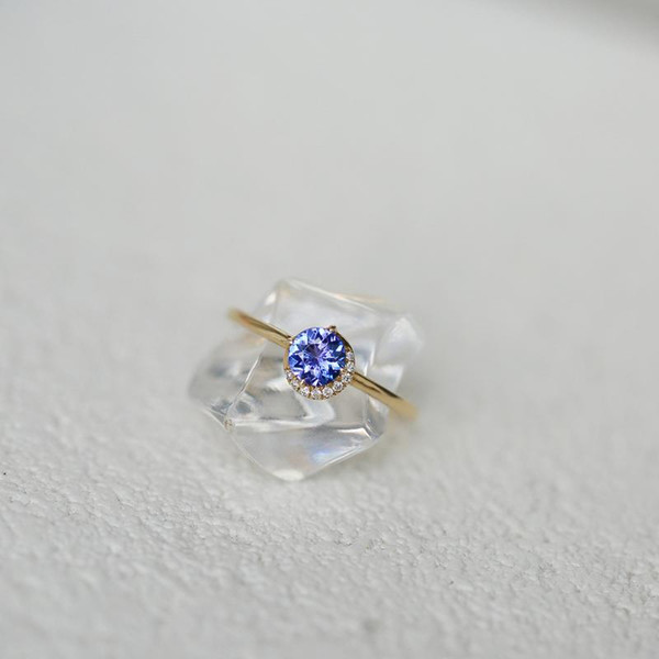 2019 Exquisite Simple Round Blue Crystal Rings For Bride Wedding