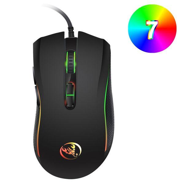 HXSJ Brand New 3200 DPI Optical Professional Gaming Mouse Avec 7 Couleurs Vives LE Souris D'ordinateur Souris Ergonomique Pour Ordinateur Portable PC