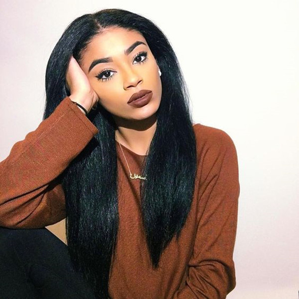 150% density full lace human hair wigs Yaki straight lace front with baby hair wigs pre plucked can be permed for lack women