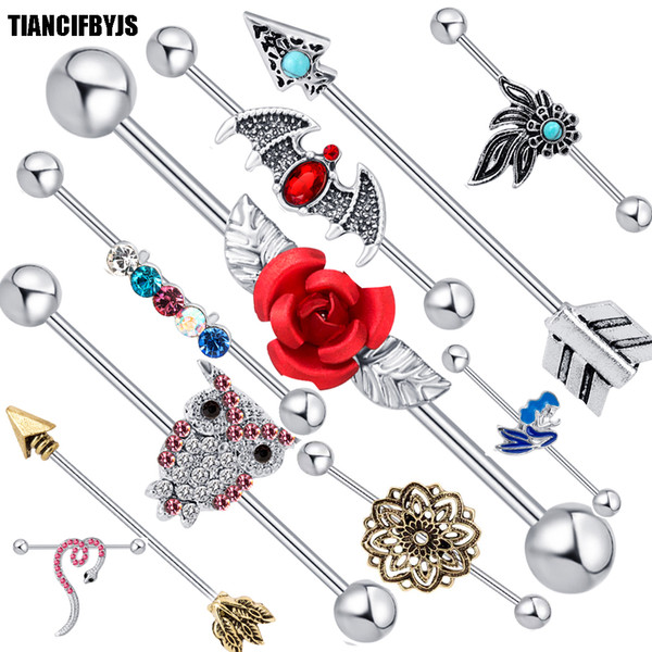top popular Jewelry Industrial Barbell Bar Surgical Steel Ear Helix Piercing Cartilage 14g Tragus Earring 20pcs 2021