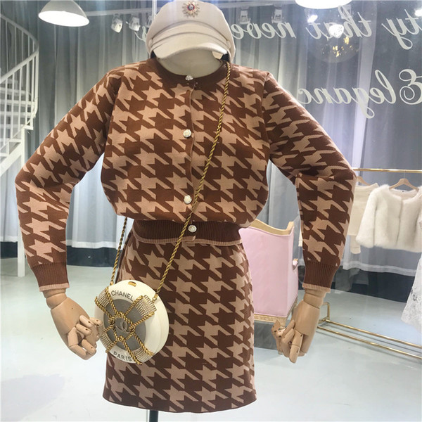 Amolapha Women Knitted Plover Case Cardigans Tops+High Waist Slim Skirts 2 Pieces Clothing Set Suits
