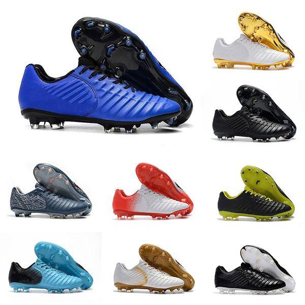 Großhandel Herren Fußball Cleat Blau Weiß Gold Anzug Tiempo Legend 7 Fußballschuhe VII FG Schwarz Lux Outdoor Fußball Schuhe Größe 39-45